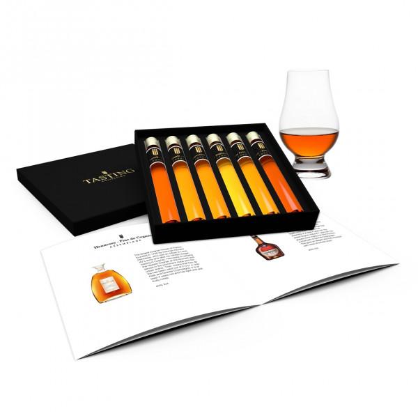 Cognac dégustation 6 Tubes en coffret cadeau